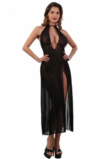 Robe Longue Déshabillé Transparent Noir