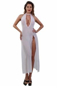 Robe Longue Déshabillé Transparent Blanc Spazm Clubwear By Soisbelle