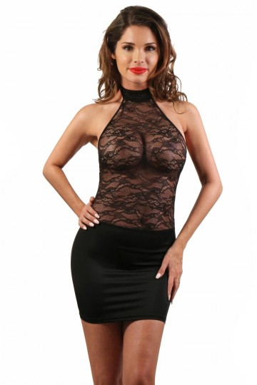 Robe Sexy Noir Club Libertin Haut Dentelle Transparent
