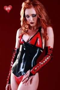 Corset Latex Noir et Rouge Vamp by Honour