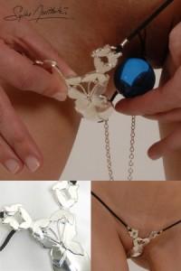String Bijoux Papillons de Jouissances Boule Pénétrante Argent Sylvie Monthulé IM#80946