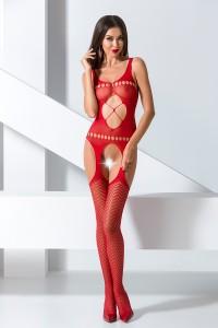 Combinaison Sexy Chic Rouge Ouverte à Jarretelles Passion IM#81119