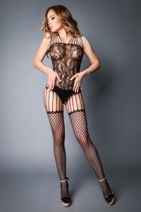 Combi BodyStocking Noir Effet Body et Bas Sexy Le Frivole IM#81371