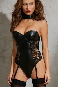 Body Taille S Bustier Simili Cuir à Armatures Dos Zip Jarretelles Amovibles Dreamgirl