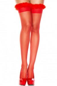 Bas Voile Rouge Jarretières Duvet Doux Autofixants Music Legs IM#82354