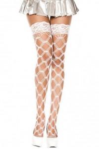 Bas Blanc Filet Losange Autofixants Music Legs IM#82481