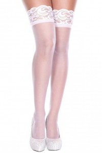 Bas Fins Voile Blanc Autofixants Music Legs IM#82497