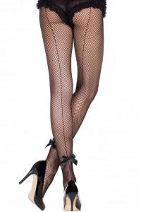 Collant Couture Résille Noir Noeuds Satinés Music Legs IM#83453