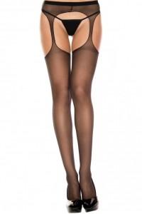 Collant Ouvert Sexy Noir Nylon Fin Effet Porte-Jarretelles Music Legs IM#83455