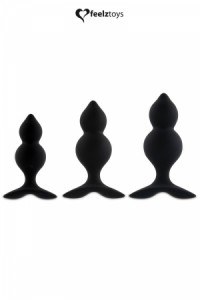 Coffret 3 Plugs Anal Bibi Twin Noir Feelztoys