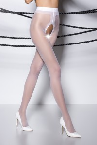 Collants Ouverts Blanc TI007 Passion bas et collants