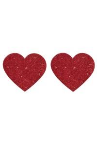 Nipples Adhésifs Coeur Rouge Brillant FunSex