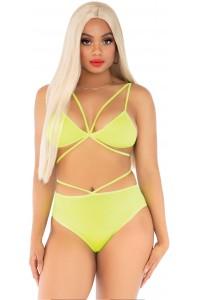Cage strap bra top and briefs jaune neon Leg Avenue