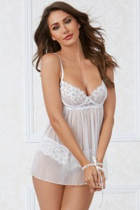 Nuisette Dentelle Blanche Extensible Sting Perles Dreamgirl