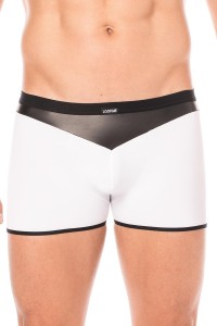 Boxer Blanc Simili Cuir Brillant LookMe