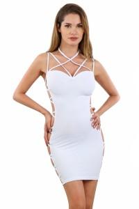 Robe Blanche ClubWear Coté Ouverts Lacée Spazm Clubwear By Soisbelle
