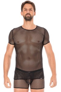 T-shirt Homme Sexy Filet Fetish Noir LookMe
