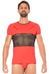 T Shirt Filet Sexy Homme Rouge LookMe