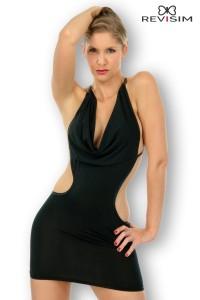Robe Sexy Noire Décolletée Échancrée et Dos Nu Revisim