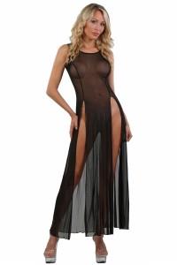 Robe Longue Transparente Noire Micro Résille Spazm