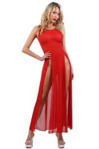 Robe Longue Transparente Rouge Micro Résille Spazm