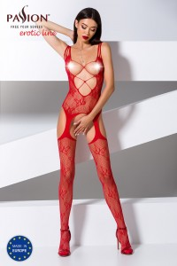 Combinaison Jarretelles Seins Nus Rouge Passion lingerie