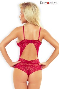 Body Tanga Dentelle Rouge Dos Ouvert Provocative
