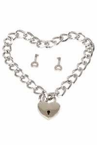 Collier Fetish Chaine Coeur Cadenas Métal Argenté Spazm